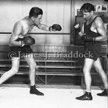 A young Jimmy Braddock sparring