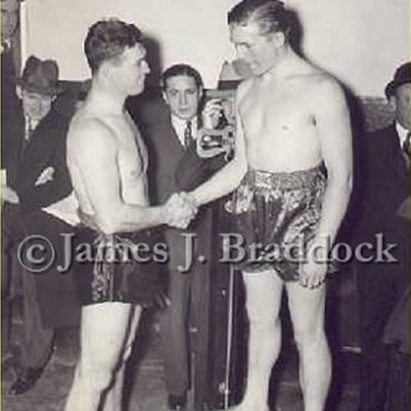 Braddock and Tommy Farr weigh-in, January 1938
