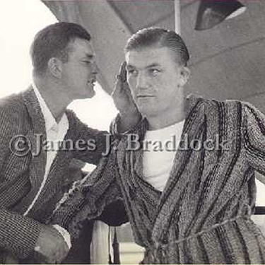 Braddock shares boxing secrets with Tommy Farr