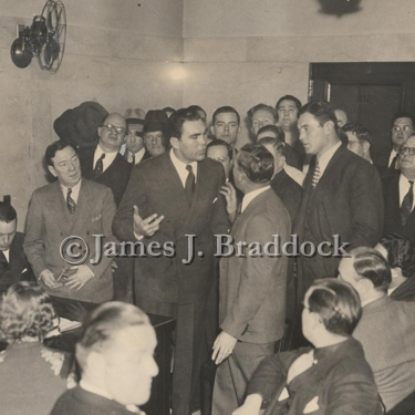 Max Schmeling, Joe Gould & James Braddock get in to it over contract issues. 1936.