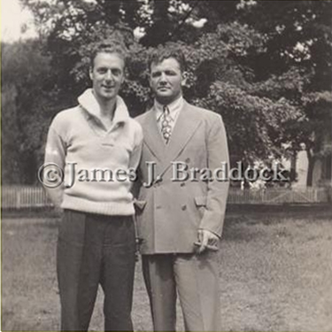 Bill Fox and James J. Braddock at the Braddock summer home, Sullivan County NY.