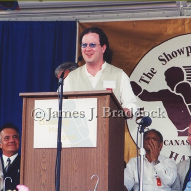 Grandson, James J. Braddock III, accepts his grandfathers nomination into the International Boxing Hall of Fame. Canastota, NY. 2001.