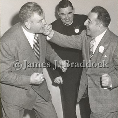 Jim and Lud Shabazian throw a few punches. Lud who was a good friend of Jim's wrote the Jim Braddock biography, 'Relief to Royalty'