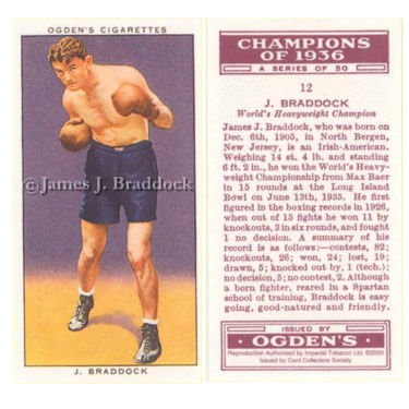 Braddock appears on an Ogden's Tobacco collector card from 1937