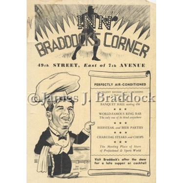 Advertisement for 'Inn Braddock�s Corner', where many fans and stars would meet with the Champ and dine in New York City's theatre district